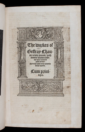 "<b>Author:</b> Geoffrey Chaucer<br> <b>Title:<b><i> The workes of Geffray Chaucer newly printed </i>  (London, 1550?)<br> <b>Shelfmark: E.2.10</b><a href=""http://idiscover.lib.cam.ac.uk/primo-explore/fulldisplay?docid=44CAM_ALMA21420880740003606&amp;context=L&amp;vid=44CAM_PROD&amp;search_scope=SCOP_QUE&amp;tab=cam_lib_coll&amp;lang=en_US""> </a></b></b>"