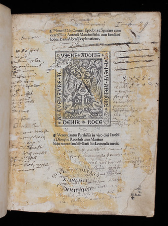 "<b>Author:</b> Horace<br> <b>Title:</b><i> Ode Carmen Epodon et Seculare</i> (Paris, 1503)<br> <b>Shelfmark:</b> I.6.29  <a href=""http://idiscover.lib.cam.ac.uk/primo-explore/fulldisplay?docid=44CAM_ALMA21415610750003606&amp;context=L&amp;vid=44CAM_PROD&amp;search_scope=SCOP_QUE&amp;tab=cam_lib_coll&amp;lang=en_US""> (catalogue record)</a>"