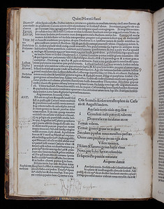 Published in 1503, the poems in this collection by the Roman poet Horace are surrounded by printed commentaries by the Flemish scholar, Josse Badius, and the highly regarded Italian educationalist, Antonio Mancinelli. His comments at the beginnings of each ode - indicated by 'ANT' or 'ANTO' - analyse the patterns of meters and refer to other technical aspects of the verse.  On this page, an industrious Renaissance reader seems to have been particularly interested in the 'Saphicum metrum' (Sapphic stanza), a form of verse originally used by Sappho of Lesbos (c. 630-c. 570 BC). The reader has drawn a diagram of a hand that represents the first verse of the ode 'Jam satis terris nivis atque dirae'. The verse is broken down into syllables, with each one ascribed to a joint or tip of a finger. As a mnemonic and calculating device, hand diagrams such as this date back to ancient times, one of the most celebrated practitioners having been the medieval music theorist Guido of Arezzo, whose 'Guidonian hand' was widely used as a means to teach and remember musical intervals and melodies.   Author: Horace Title: Odae [Odes] (Paris, 1503) Shelfmark: I.6.29   (catalogue record)