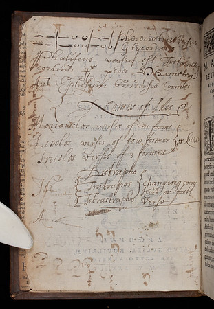 This book of poems by the Roman poet, Horace, was edited by Marc-Antoine Muret, a French humanist famous for having revived Ciceronian Latin style and highly praised for his pedagogic skills. The Queens' copy has been used as a workbook, possibly by a student.  This image shows the blank side of the title page  where the reader has inscribed notes on Latin scansion (the visual analysis of a poem's meter). The first lines refer to 'Pherecratean' and 'Glyconius' meters – both of which are characteristic verse forms used by two poets from Lesbos, Sappho and Alcaeus, in the sixth century BC. All are accompanied by classical notation which determines the stressed (-) and unstressed (˘) syllables of the meters. Author: Horace Title: Horatius M. Antonii Mureti in eundem annotationes [Horace with the annotations of M. Antoine Muret] (Lyon, 1573) Shelfmark: I.8.26   (catalogue record)