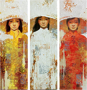 Lim Khim Katy; Marriage; Oil on canvas; 36 x 40 in. (triptych); 2013