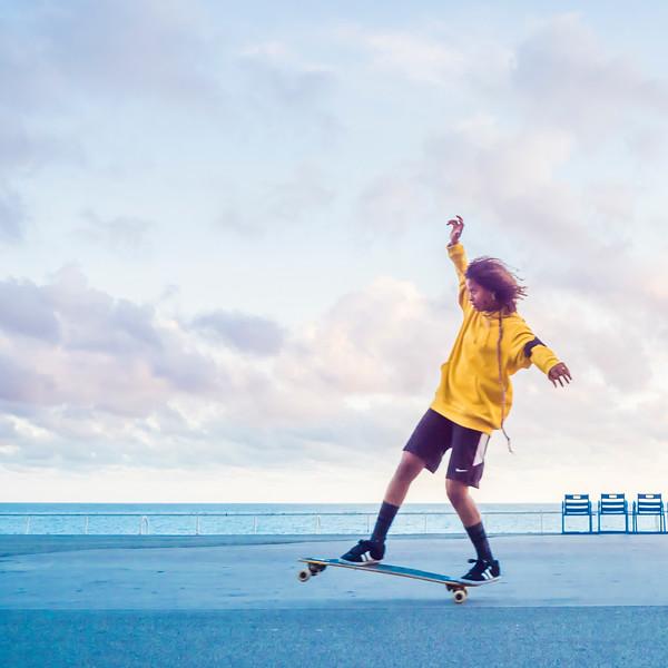 Yellow Skate Girl