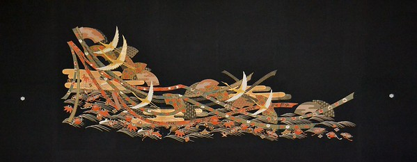 "Artist - Rachael Binnie      Title - Celebration     Dimensions - 90cm x 226cm     Media - Kuro Tomesode Silk Kimono stretched on wooden frame    Edition - 1/1      Status - Available     Exhibition - ANA Intercontinental Hotel, Tokyo January 8 - March 4, 2014          <a href=""mailto:info@toriizakaart.com?subject=Rachael Binnie - Celebration"">Inquiry</a>"