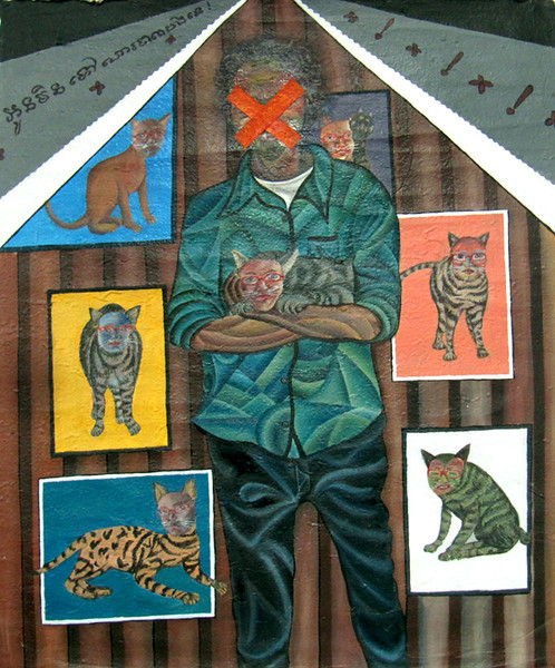 Oeur Sokuntevy, You are like a Cat, 2009, acrylic on handmade paper, 56 X 48.5 cm