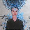Nguyen Minh Thanh, Black Sunflower, 2012. Guoache on Dzo Paper, 33 X 24 in.