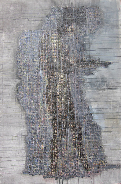 Heng Ravuth, Innermost, The Building, 2011. Mixed media on canvas, 44 x 66 in. <b>SOLD </b>