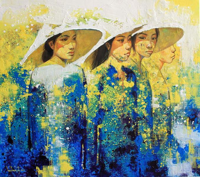 Lim Khim Katy, Woman in Saigon; Oil on canvas; 36 x 40 in ; 2013