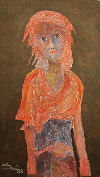 Hour Seyha; Untitled (part of the 'Children of the countryside' series); Oil on canvas; 2012; 23 x 39 in..