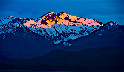 Firetop Mountain, Marine Highway, Alaska Captured from the port side of a southward-bound cruise ship at sunset.  Copyright (c) Robert Ash