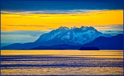 Blue Mountain at Sunset, Marine Highway, Alaska. Captured from the port side of a southward-bound cruise ship at sunset.  Purchased by Mark and Patricia Johnson  Copyright (c) Robert Ash