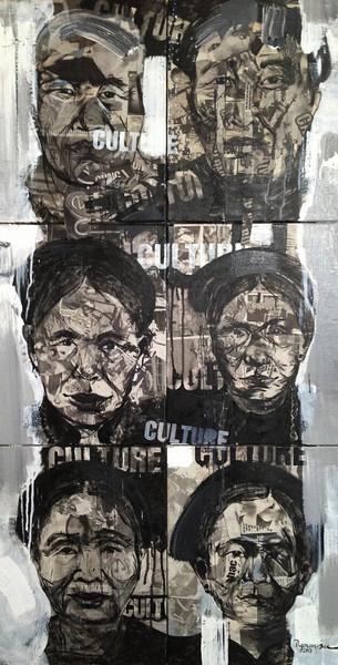 Ngo Van Sac, Culture 2, 2013. Acrylic on canvas, 24 X 47 in.