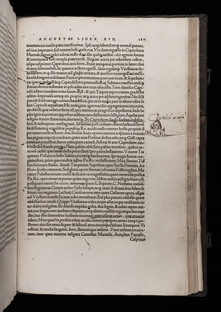 "Thomas Smith's drawing. <br><br> <b>Author:</b> Cornelius Tacitus<br> <b>Title:</b> <i>Historia augusta actionum diurnalium </i> [Histories] (Basel, 1519)<br> <b>Shelfmark:</b> F.1.4<a href=""http://idiscover.lib.cam.ac.uk/permalink/f/1nnjft8/44CAM_ALMA21397895350003606""> (catalogue record)</a>"