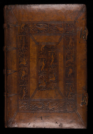 "16th-century calf binding from the Cambridge workshop of Garrett Godfrey with his favourite ornaments: a gryphon, a wyvern and a lion with the his initials under the lion<br><br>  <b>Author:</b> Dionysius of Halicarnassus<br> <b>Title:</b> <i>Antiquitatum sive Originum Romanarum </i> [The antiquities or Origins of Rome]  (Basel, 1532)<br> <b>Shelfmark:</b> F.1.7<a href=""http://idiscover.lib.cam.ac.uk/primo-explore/fulldisplay?docid=44CAM_ALMA21420903950003606&amp;context=L&amp;vid=44CAM_PROD&amp;search_scope=SCOP_QUE&amp;tab=cam_lib_coll&amp;lang=en_US""> (catalogue record)</a>"