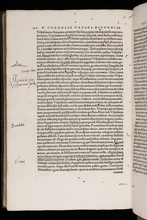 "Thomas Smith's marginalia and drawing. <br><br> <b>Author:</b> Cornelius Tacitus<br> <b>Title:</b> <i>Historia augusta actionum diurnalium </i> [Histories] (Basel, 1519)<br> <b>Shelfmark:</b> F.1.4<a href=""http://idiscover.lib.cam.ac.uk/permalink/f/1nnjft8/44CAM_ALMA21397895350003606""> (catalogue record)</a>"