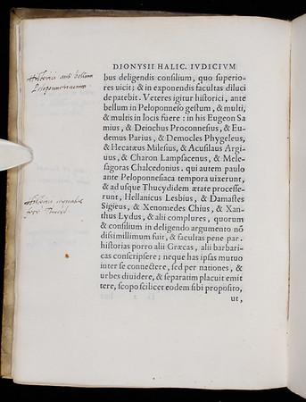 "Roger Ascham's marginalia <br><br> <b>Author:</b> Dionysius of Halicarnassus<br> <b>Title:</b><i> De Thucydidis historia judicium </i> [On Thucydides] (Venice, 1560)<br> <b>Shelfmark:</b> C.9.15(1)  <a href=""http://idiscover.lib.cam.ac.uk/permalink/f/1nnjft8/44CAM_ALMA21420880290003606""> (catalogue record)</a>"