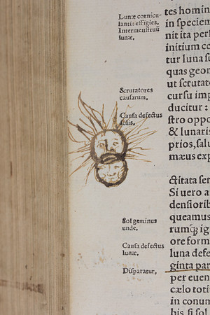 "Eclipse of the Sun and Moon <br><br> <b>Author:</b> Desiderius Erasmus<br> <b>Title:</b><i> Ex recognitione Des. Erasmi Roterodami, C. Suetonius Tranquillus, Dion Cassius Nicaeus … [et alii] </i> [Editions by Erasmus of classical accounts of Roman emperors by Suetonius, Dio Cassius, and others] (Cologne, 1527) <br> <b>Shelfmark:</b> G.6.23 <a href=""http://idiscover.lib.cam.ac.uk/permalink/f/1nnjft8/44CAM_ALMA21415622990003606""> (catalogue record)</a> <br><b>Digital copy:</b> <a href=""https://cudl.lib.cam.ac.uk/view/PR-F-00002-00015""> Cambridge Digital Library</a>"