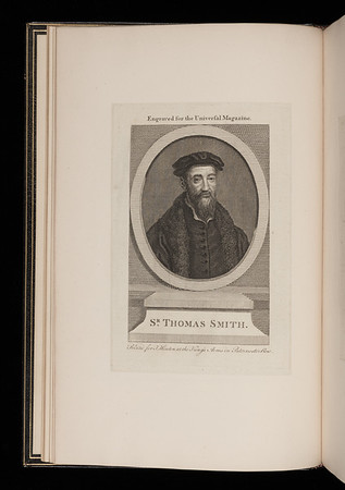 "Engraved inserted portrait of Thomas Smith for the <i>Universal Magazine</i>. <br><br> <b>Author: </b>Bede the Venerable<br> <b>Title: </b><i>Ecclesiasticae historiae gentis Anglorum </i> [Ecclesiastical history of the English people] (Antwerp, 1550) <br> <b>Shelfmark: </b> X.17.1<a href=""http://idiscover.lib.cam.ac.uk/permalink/f/1nnjft8/44CAM_ALMA21420911500003606S""> (catalogue record)</a><br>"