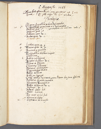 "In addition to his books, two of Smith's personal notebooks now belong to Queens' Library. This particular notebook comprises inventories of his possessions, including two lists of his books, dated 1566 and 1576. They are both organised by subjects: theology, civil law, English law, history, philosophy, mathematics, medicine and surgery, grammar and poetry, historical and philosophical Greek books, and architecture. This library list was intended for Smith's personal use, and each entry is brief, with only an author's name or a title. Smith was known for his organisation and accuracy; thus, we can consider the list an accurate reflection of his library and the way in which it was ordered. <br><br> <b>Author:</b> Thomas Smith<br> <b>Title:</b><i> 'Inventaries'</i> [Commonplace book] (16th century)<br> <b>Shelfmark:</b> Queens' College Library MS 49 <br> Full digital copy on <a href=""https://cudl.lib.cam.ac.uk/view/MS-QUEENS-00049/1""> Cambridge Digital Library</a>"