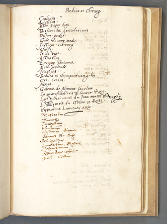 "Books on medicine and surgery <br><br> <b>Author:</b> Thomas Smith<br> <b>Title:</b><i> 'Inventaries'</i> [Commonplace book] (16th century)<br> <b>Shelfmark:</b> Queens' College Library MS 49 <br> Full digital copy on <a href=""https://cudl.lib.cam.ac.uk/view/MS-QUEENS-00049/1""> Cambridge Digital Library</a>"