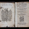 "Five-word 2D Latin palindrome, also part of the Rotas-Sator square in a 17th century hand above armorial bookplate of Queens' College: 'Sator arepo tenet opera rotas' <br><br> <b>Author:</b> Giambattista della Porta<br> <b>Title:</b><i> Magiae naturalis </i> [Natural magic] (Frankfurt, 1597) <br> <b>Shelfmark:</b> H.20.32  <a href=""http://idiscover.lib.cam.ac.uk/permalink/f/1nnjft8/44CAM_ALMA21392239250003606""> (catalogue record)</a>"