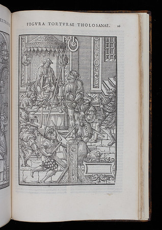 "Inquisitorial torture. <br><br>  <b>Author:</b> Jean Milles de Souvigny<br> <b>Title:</b><i> Praxis criminis persequendi</i> (Paris, 1541)<br> <b>Shelfmark:</b> H.1.17(2)  <a href=""http://idiscover.lib.cam.ac.uk/primo-explore/fulldisplay?docid=44CAM_ALMA21417673370003606&amp;context=L&amp;vid=44CAM_PROD&amp;search_scope=SCOP_QUE&amp;tab=cam_lib_coll&amp;lang=en_US""> (catalogue record)</a>"