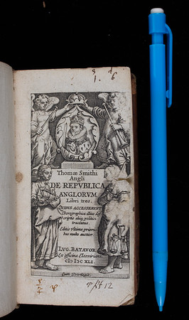 """Written between 1562 and 1565 and initially published in English as a means to permit a wide readership, this is one of two publications for which Smith is best known. In it Smith drew on his knowledge of civil law and his experience of the continent to establish the distinctiveness of English institutions. The humanistic approach that underlies the work, according to which ancient authorities are hailed as essential but also fallible and in need of revision, is typical of the period. By writing in a style 'midway between the historical and the philosophical' Smith aimed to revisit an approach he 'imagined' Aristotle had adopted in his long-since lost accounts of the Greek commonwealths. It has recently been argued that Smith's book also sought to resolve one of the chief problems then faced by him and his colleagues in government: how to secure the throne for Protestantism. According to this view, Smith's use of the still-novel concept, 'king in parliament', was invoked here in order to preserve Elizabeth's monarchical legitimacy and thus pave the way for Parliament to secure the succession of the Protestant Grey line should she die without issue. <br><br> <b>Author:</b> Thomas Smith<br> <b>Title:</b><i> De republica anglorum</i> [The republic of England] (Leiden, 1641) <br> <b>Shelfmark:</b> X.17.5  <a href=""""http://idiscover.lib.cam.ac.uk/primo-explore/fulldisplay?docid=44CAM_ALMA21407512770003606&amp;context=L&amp;vid=44CAM_PROD&amp;search_scope=SCOP_QUE&amp;tab=cam_lib_coll&amp;lang=en_US""""> (catalogue record)</a>"""