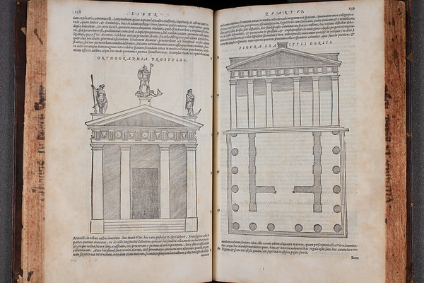 "Smith's keen interest in the Roman author Vitruvius' <i>Ten books on architecture</i> is evident in the fact that no fewer than four editions of the work, all in different languages, appear in his library inventory (here is a Latin version). Rediscovered during the Renaissance, Vitruvius' work may have proved particularly relevant for Smith in relation to his reading of the Roman law texts commissioned by the Emperor Justinian (see previous images). Smith's sketches of buildings in the margins of the Infortiatum where architecture is discussed reflect his fascination with Roman building practices and their laws concerning the legal rights and duties of property owners. Recent research has argued that Justinian legal precepts had a direct influence on Smith's subsequent design of his residence at Hill Hall, Essex. This is now considered to be one of the first Renaissance houses to have been built in England. <br><br> <b>Author:</b> Vitruvius Pollio<br> <b>Title:</b><i> De architectura libri decem</i> [Ten books on architecture] (Venice, 1567) <br> <b>Shelfmark:</b> F.2.24 <a href=""http://idiscover.lib.cam.ac.uk/primo-explore/fulldisplay?docid=44CAM_ALMA21394501550003606&amp;context=L&amp;vid=44CAM_PROD&amp;search_scope=SCOP_QUE&amp;tab=cam_lib_coll&amp;lang=en_US""> (catalogue record)</a>"