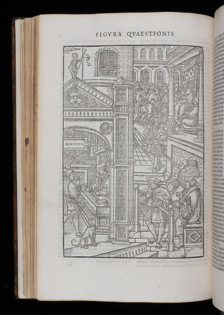 """The relative rarity of illustrations in sixteenth-century law books renders the vivid depictions of torture in this French handbook on criminal procedure particularly remarkable. Using the scenario of a fictitious crime committed in Paris, the author outlines various stages of penal procedure – a street crime, the investigation (depicted here), the apprehension of a suspect, his 'interrogation' (i.e. torture) and final condemnation – all accompanied by woodcuts. Smith is likely to have acquired the text when he was studying civil law in France (1540-2) following his appointment as Regius Professor of Civil Law in Cambridge in 1540.<br>   It seems that Smith's knowledge of torture may have extended beyond the mere theory of its use.  In 1571 Smith himself was ordered to use torture by Elizabeth I as a means to interrogate suspects relating to a murder plot against her in which her cousin, the Duke of Norfolk, was involved. It is thought, however, that on this occasion such methods ultimately proved unnecessary.<br> <br><br>   <b>Author:</b> Jean Milles de Souvigny<br> <b>Title:</b><i> Praxis criminis persequendi</i> (Paris, 1541)<br> <b>Shelfmark:</b> H.1.17(2)  <a href=""""http://idiscover.lib.cam.ac.uk/primo-explore/fulldisplay?docid=44CAM_ALMA21417673370003606&amp;context=L&amp;vid=44CAM_PROD&amp;search_scope=SCOP_QUE&amp;tab=cam_lib_coll&amp;lang=en_US""""> (catalogue record)</a>"""