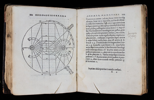 "<b>Author:</b> Sebastian Münster<br> <b>Title:</b><i> Horologiographia</i> [On the measurement of time]  (Basel, 1533) <br> <b>Shelfmark:</b> D.20.39  <a href=""http://idiscover.lib.cam.ac.uk/permalink/f/1nnjft8/44CAM_ALMA21416595580003606""> (catalogue record)</a>"