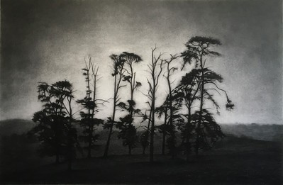 End of the Road, charcoal 71 x107cm Framed 87 x122cm SOLD
