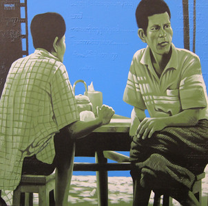 Yan Naing Tun, What will be next? (10), 2013. Acrylic on canvas, 36 X 36 in.