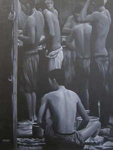 Yan Naing Tun, End of the working day, 2012. Acrylic on canvas, 36 X 48 in.