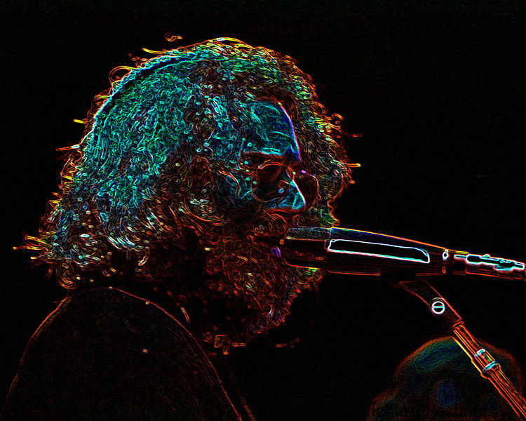 Jerry Garcia turning psychedelic in Photoshop...