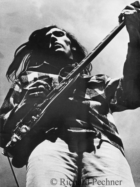 """John Cipollina playing at a free concert on June 21,1967 in Golden Gate Park, San Francisco,  during """"The Summer of Love"""".  This image was published in the book, """"The Hippies"""" by Idlewild Publishing Company, in late 1967."""