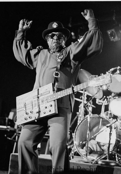 """""""I am a Man"""", Bo Diddley performing his signature song and looking right at the camera, at New George's in San Rafael, CA on February 24th,1986."""