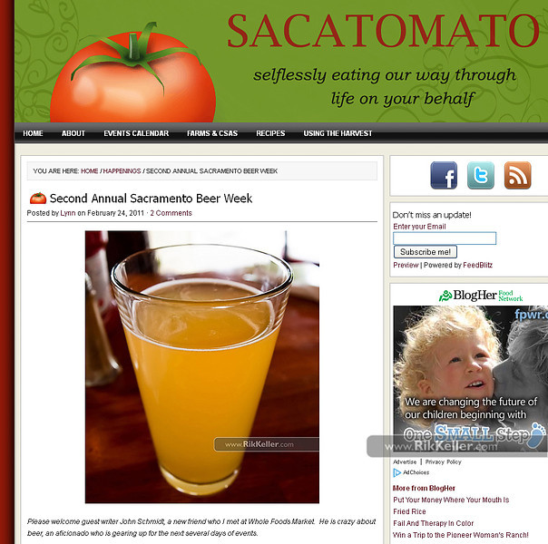 """Sacatomato<br />  <a href=""""http://www.sacatomato.com/second-annual-sacramento-beer-week"""">http://www.sacatomato.com/second-annual-sacramento-beer-week</a>"""