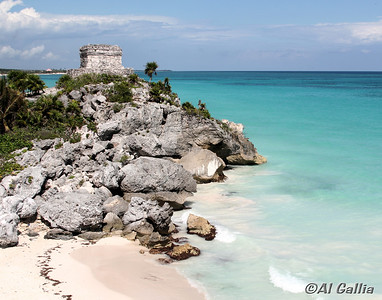 "©Al Gallia; ""Tulum Mayan Ruins""; Temple of the Wind at Tulum Mayan Ruins, Quintana Roo, Mexico (Yucatan) on western Caribbean shores."
