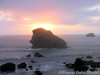 "©Bobbie Gallia; ""Pacific Sunset""; Sunset from Pebble Beach at Crescent City, California."