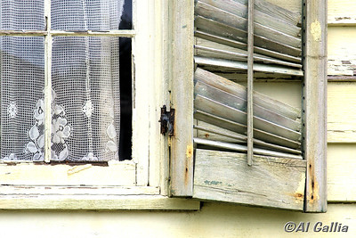"""©Al Gallia; """"Inner Beauty""""; Old lace curtain in weathered window of historic Acadian home in Vermilionville Cajun/Creole Heritage Park, Lafayette, Louisiana."""
