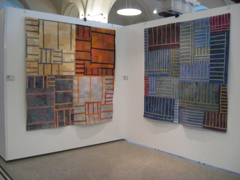 Structures #111 and Structures #108<br /> ©2009 Lisa Call<br /> 77″ x 76″ – Structures #111<br /> 72″ x 72″ – Structures #108<br /> Textile Painting (Fabric hand dyed by the artist, cotton batting, cotton thread)<br /> <br /> Photo by Janet Steadman.