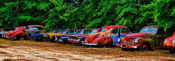 """""""Get in Line"""" - Row of Antique Cars - Catalog #0042"""