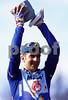 Franco Ballerini celebrates winning the 1995 Paris-Roubaix