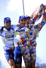 Franco Ballerini celebrates his second Paris-Roubaix win with Wilfried Peeters and Andrea Tafi in 1998