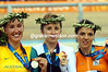 Sarah Ulmer with Katie Mactier and Leontien Van Moorsel in the 2004 Olympic Games