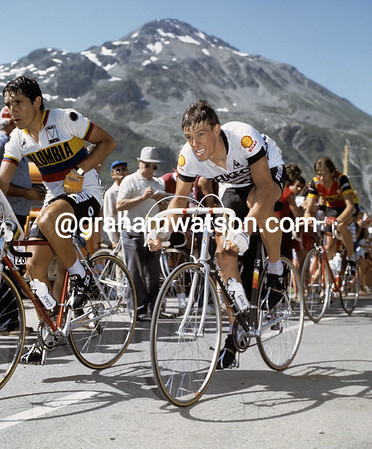 PHIL ANDERSON CLIMBS THE COL DU GLANDON IN THE 1983 TOUR DE FRANCE