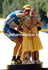 Lance Armstrong celebrates the 2005 Tour de France victory with his three children...