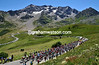 THE PELOTON CLIMBS THE COL DU GALIBIER IN THE 2009 TOUR DE FRANCE