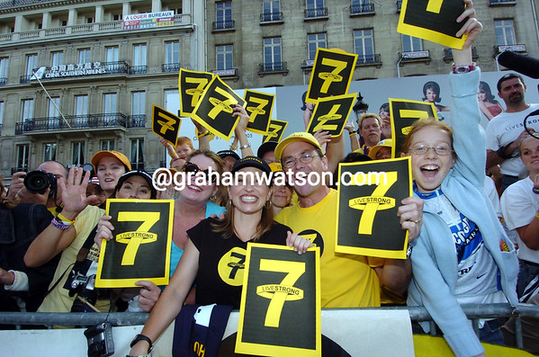 Lance Armstrong fans celebrate a seventh Tour de France victory in 2005