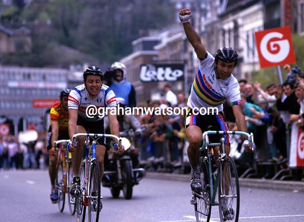 Moreno Argentin wins the 1987 Liege-Bastogne-Liege