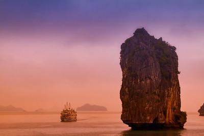 Sunrise in the Fog at HaLong Bay